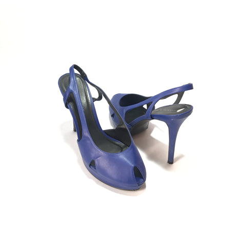 Charles & Keith Cobalt Blue Peep-toe Heels | Pre Loved |