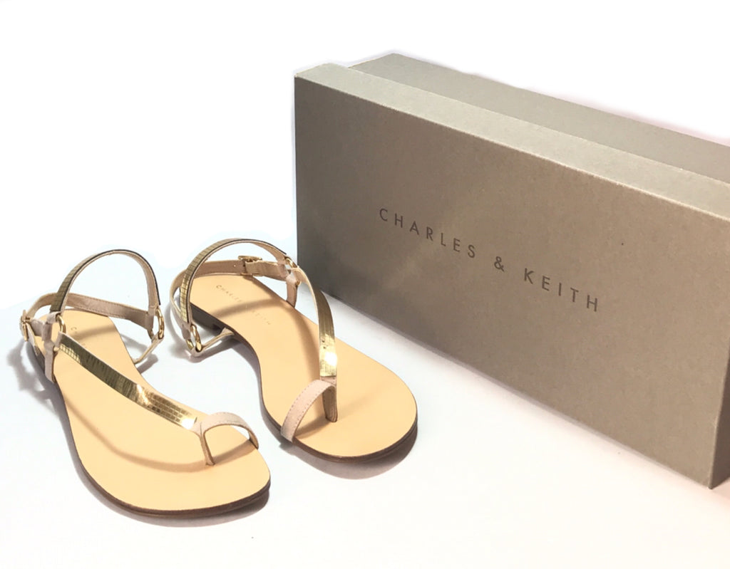 Charles & Keith Gold & Nude Flats | Pre Loved | - Secret Stash