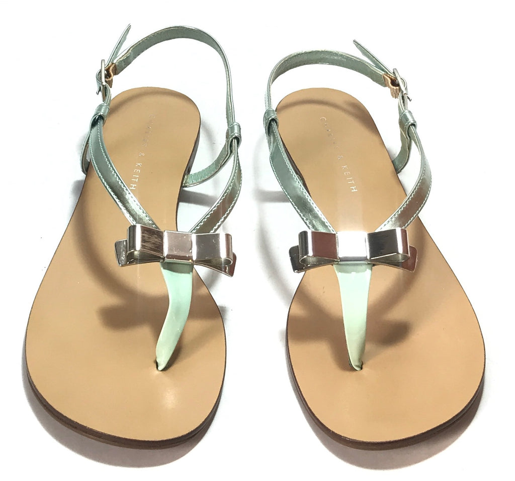 Charles & Keith Mint Green & Silver Bow Flats | Like New | - Secret Stash