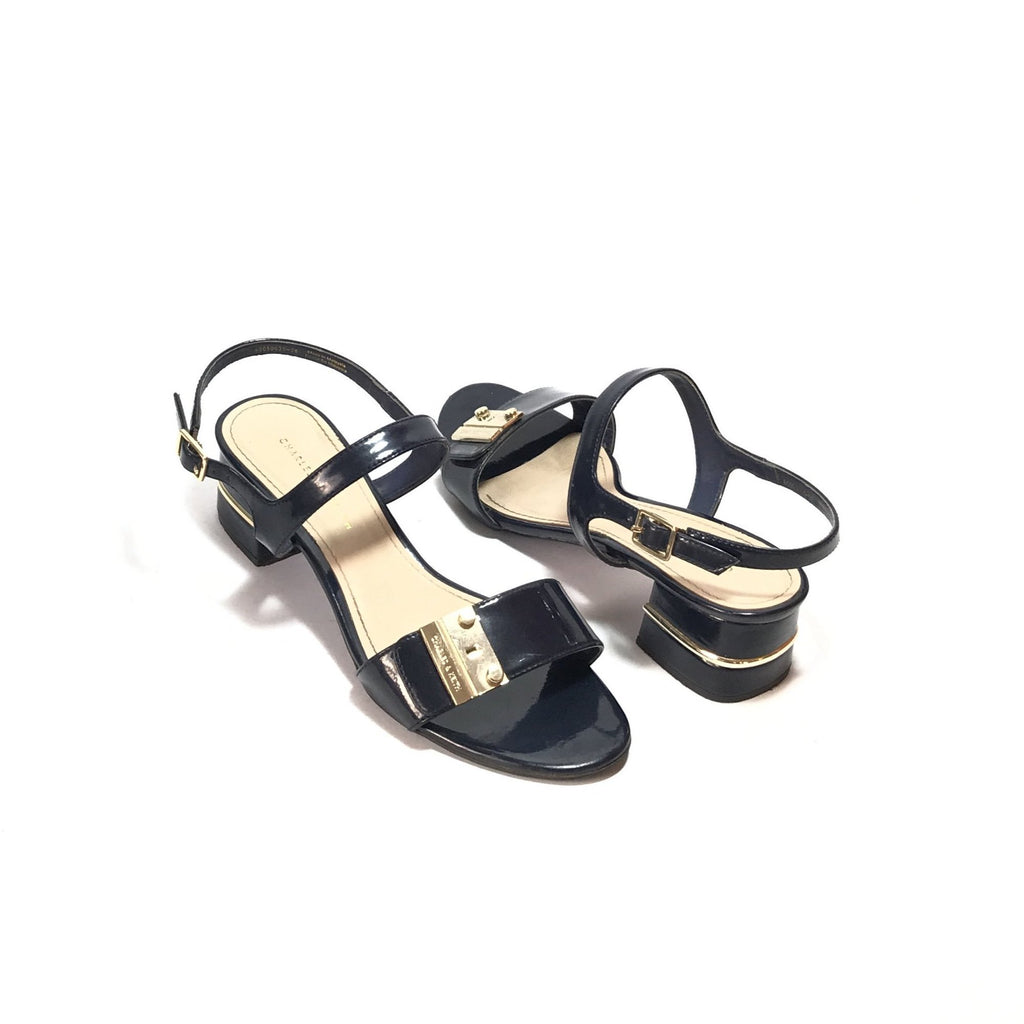 Charles & Keith Navy Block Heels | Pre Loved |