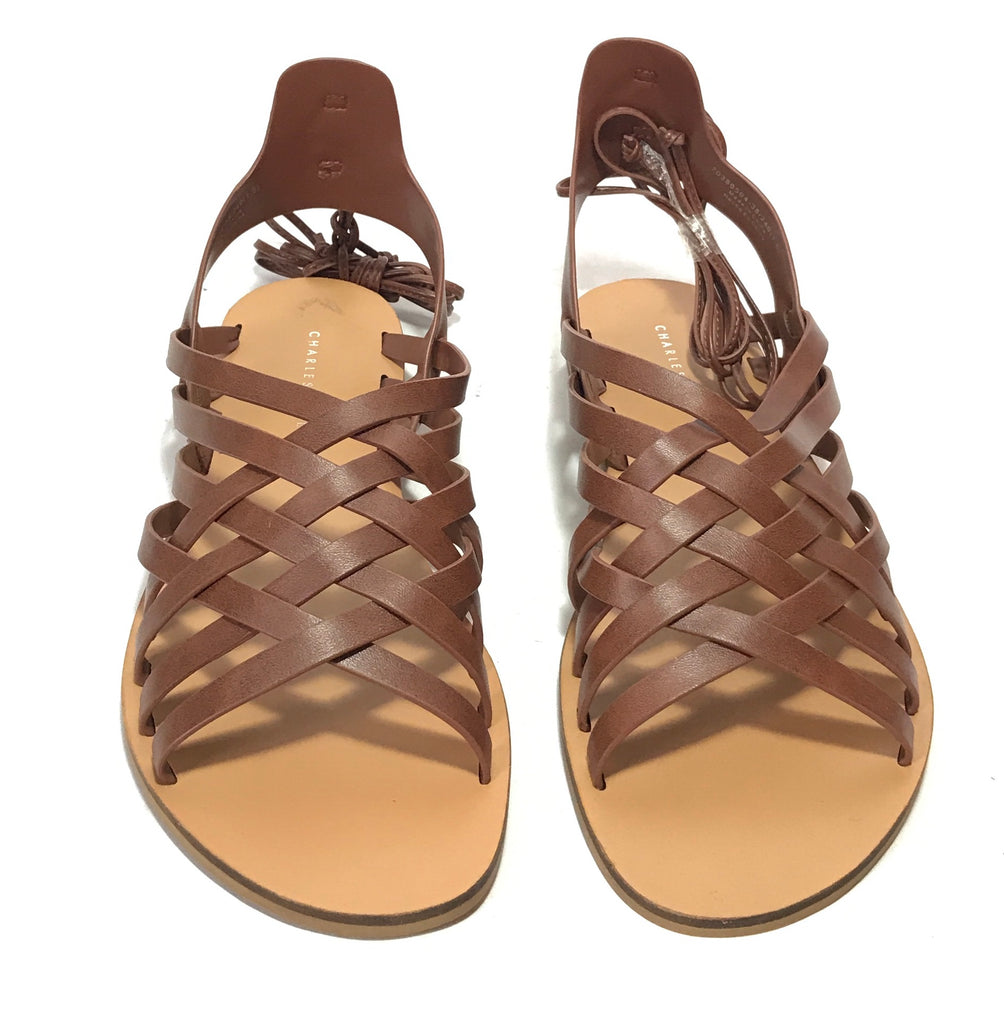 Charles & Keith Tan Leather Gladiator Sandals | Brand New |
