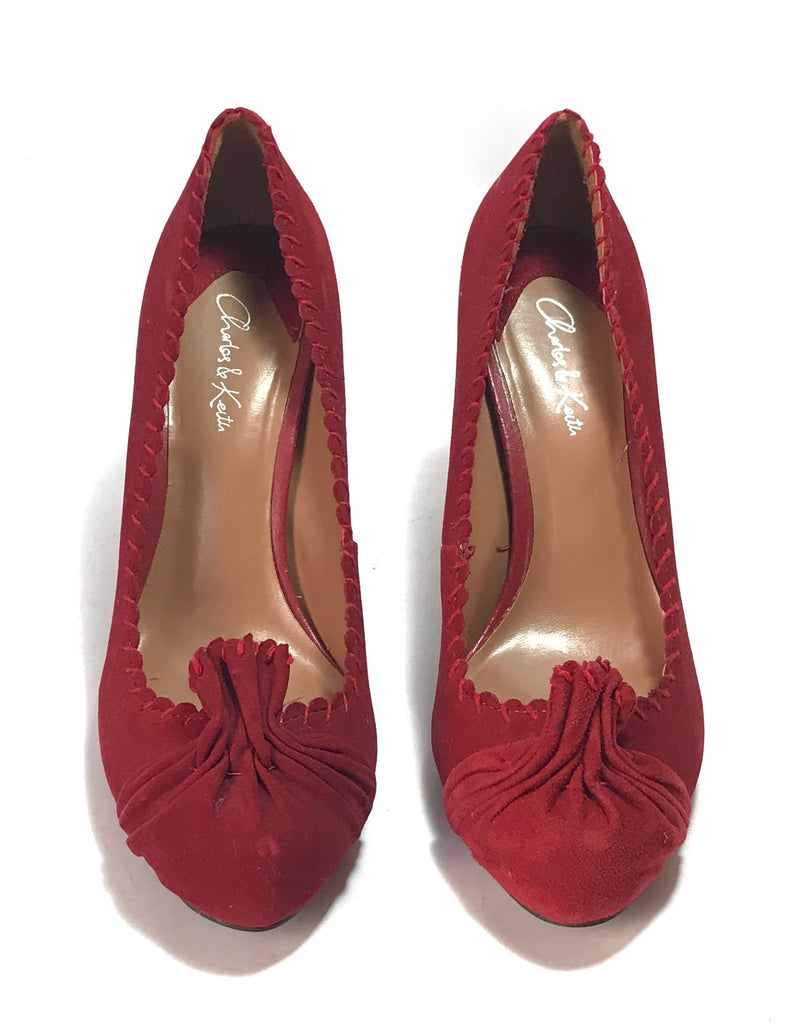 Charles & Keith Suede Red Pumps | Pre Loved | - Secret Stash