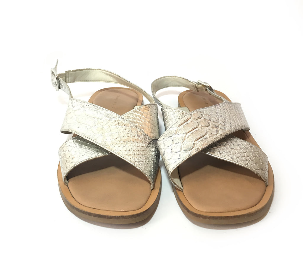Charles & Keith Silver Criss Cross Flats | Gently Used | - Secret Stash