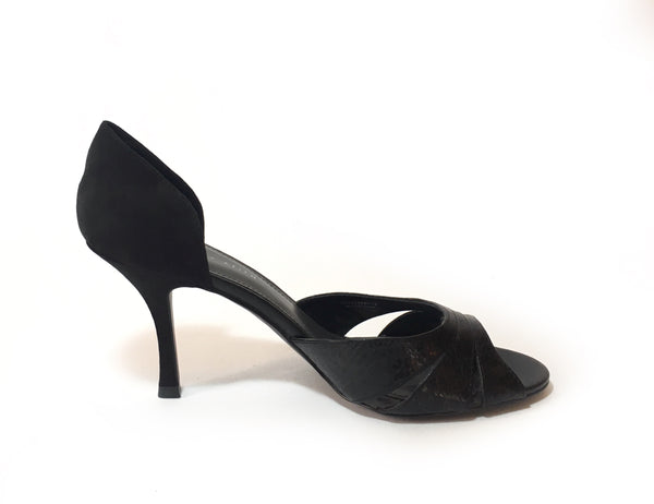 Charles & Keith Black Leather and Suede Heels | Gently Used |