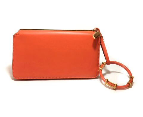 Charles & Keith Orange Leather Wristlet | Gently Used |