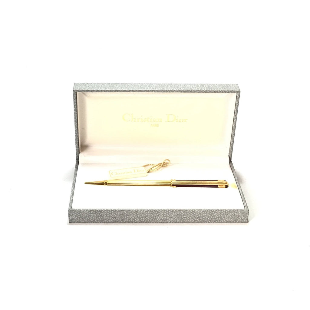 Christian Dior Gold & Maroon Ballpoint Pen | Like New |