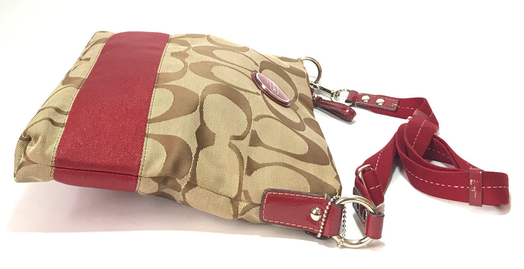 Coach Beige Monogram Canvas with Red Stripe Satchel | Gently Used |