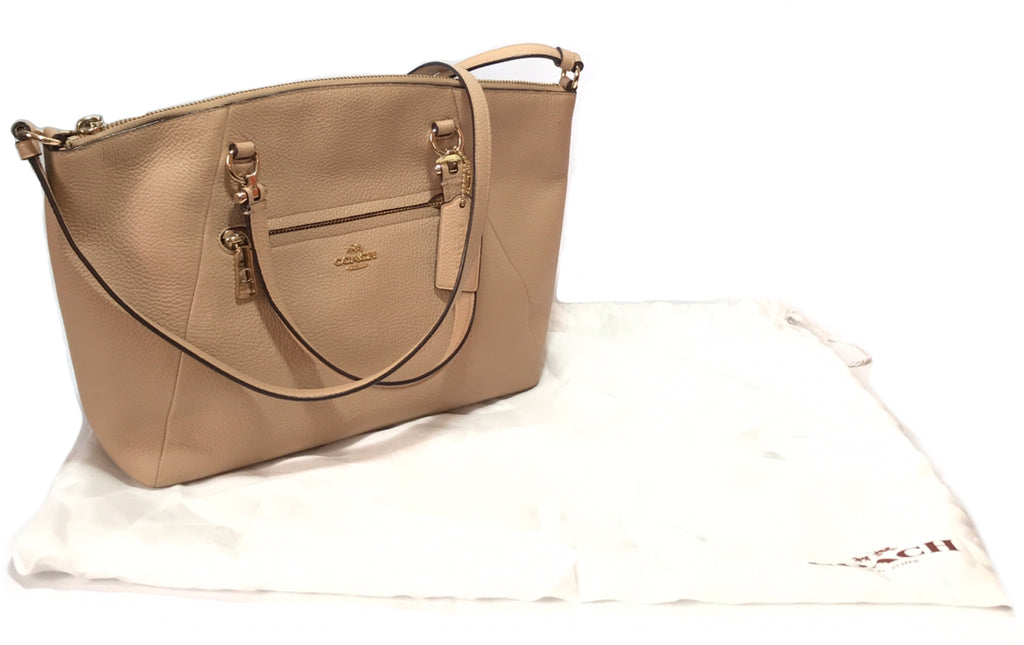 Coach Light Beige Pebbled Leather Satchel | Gently Used |