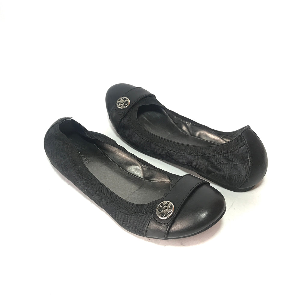 Coach Black Leather & Monogram Canvas Ballet Flats | Pre Loved |