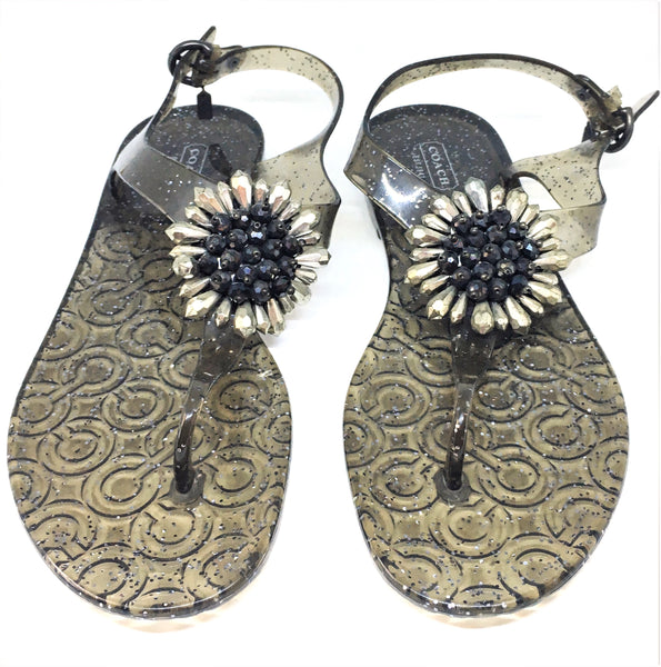 Coach HILDA Plastic Jelly Thong Floral Sandals | Like New |
