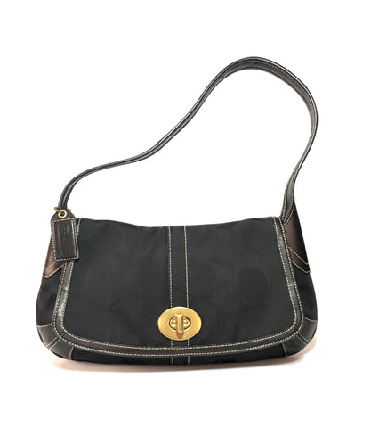 Coach Black Signature Collection Monogram Canvas with Leather Trim Shoulder Bag | Gently Used |
