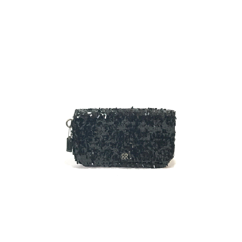 Coach Black Sequence Clutch | Gently Used |