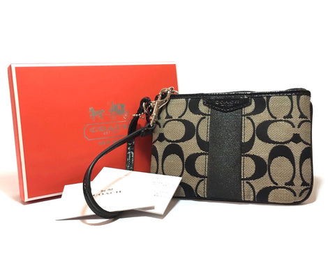 Coach Signature Monogram Canvas with Leather Trim Wristlet | Like New |