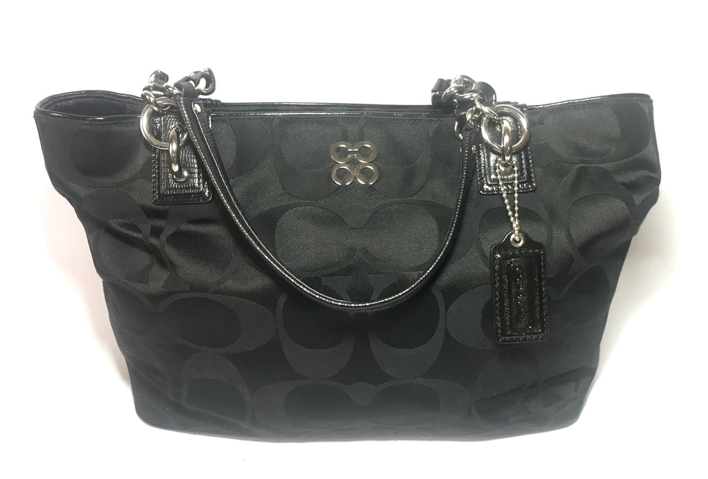 Coach Black Signature Collection Canvas & Leather Trim Shoulder Bag | Gently Used |