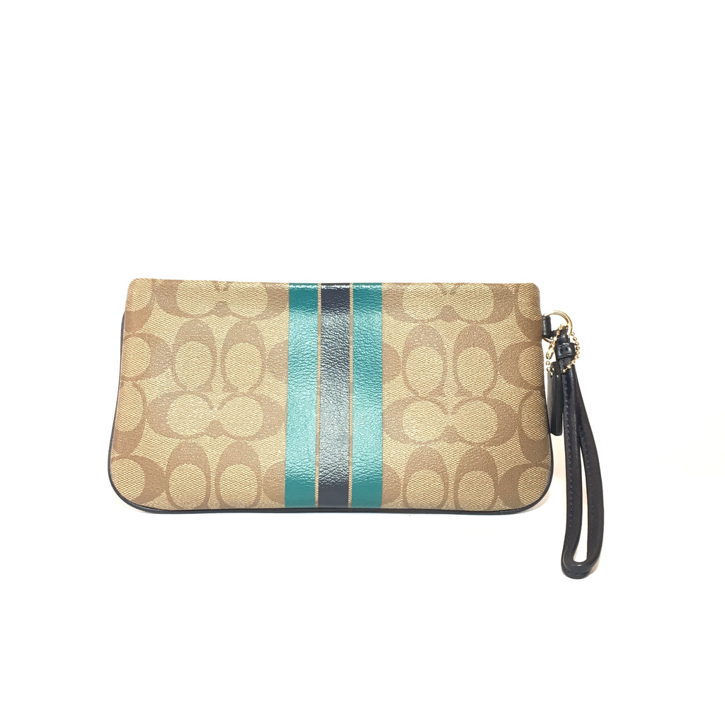 Coach Monogram Coated Canvas with Leather Trim Wristlet | Gently Used | - Secret Stash