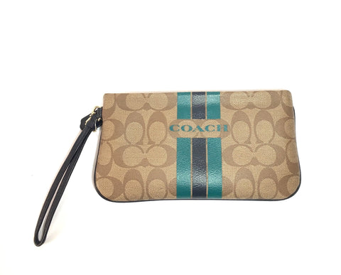 Coach Monogram Coated Canvas with Leather Trim Wristlet | Gently Used |