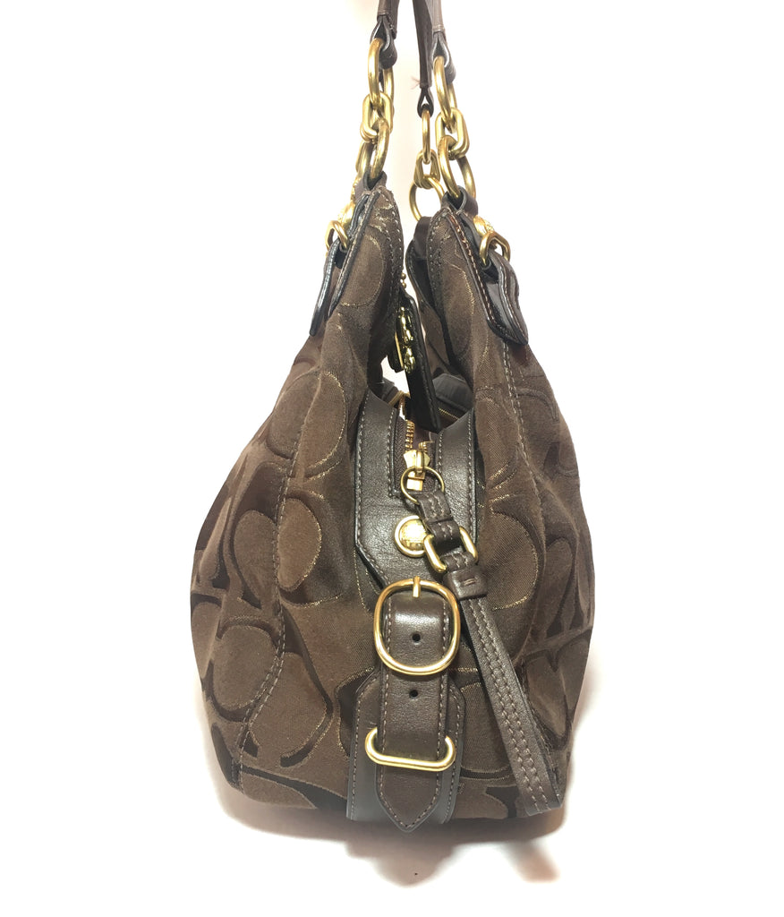 Coach Signature Collection Brown Canvas with Leather Trim Shoulder Bag | Pre Loved | - Secret Stash