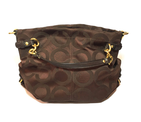 Coach Chocolate Brown Monogram Canvas Shoulder Bag | Gently Used |