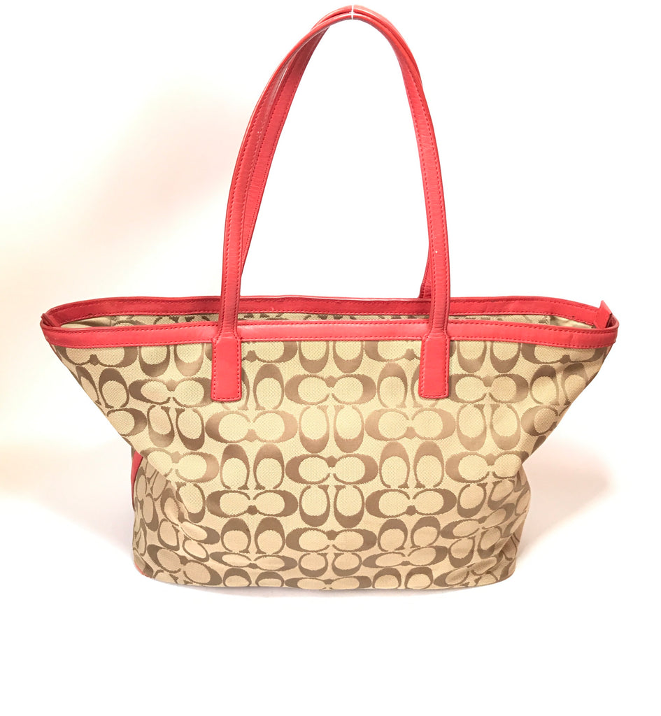 Coach Monogrammed Canvas with Red Leather Trim Tote | Pre Loved | - Secret Stash