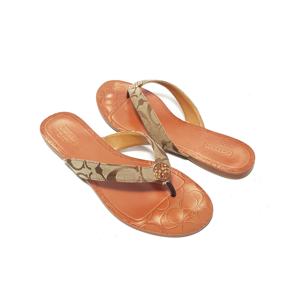 Coach Monogram Canvas & Leather 'Sara' Sandals | Gently Used |