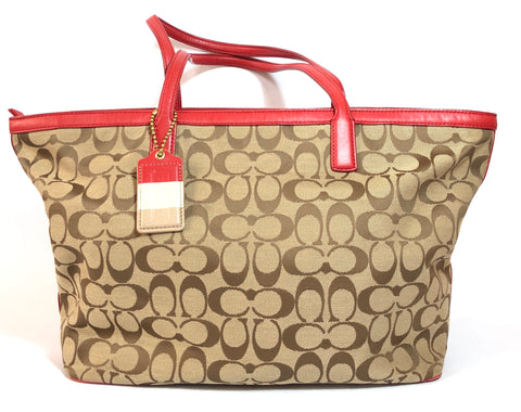 Coach Monogrammed Canvas with Red Leather Trim Tote | Gently Used |