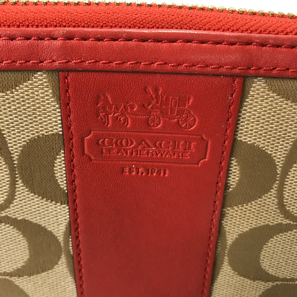 Coach Beige Monogram Canvas & Leather Trim Wallet | Gently Used |