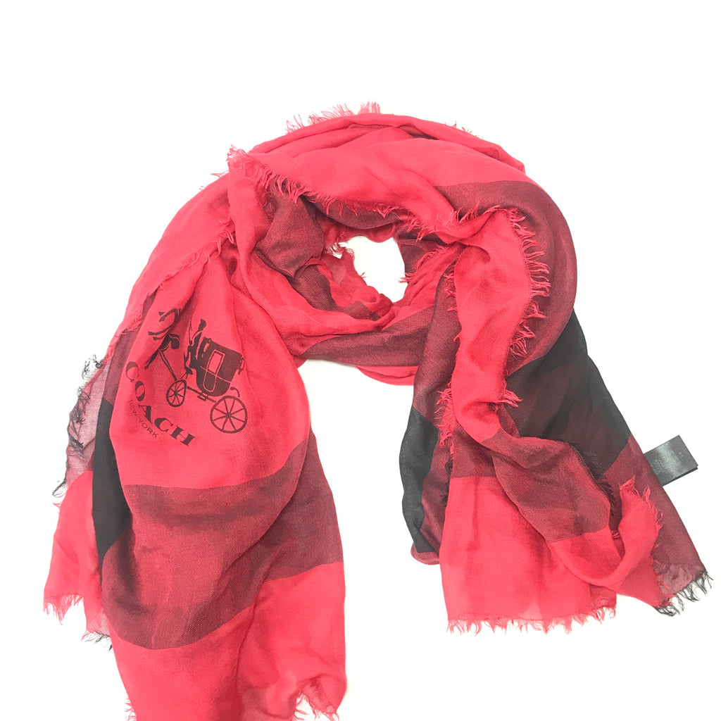 Coach Red Check Scarf  | Gently Used |
