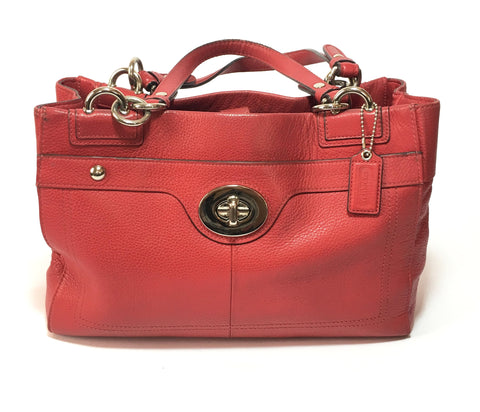 Coach Red Leather Tote Bag | Pre Loved |