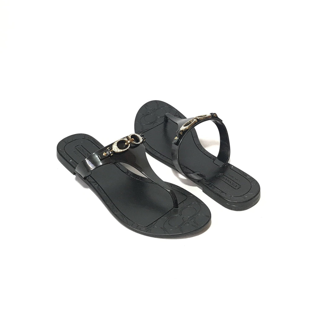 Coach 'Pennie 2' Black Rhinestone Jelly Sandals | Brand New | - Secret Stash