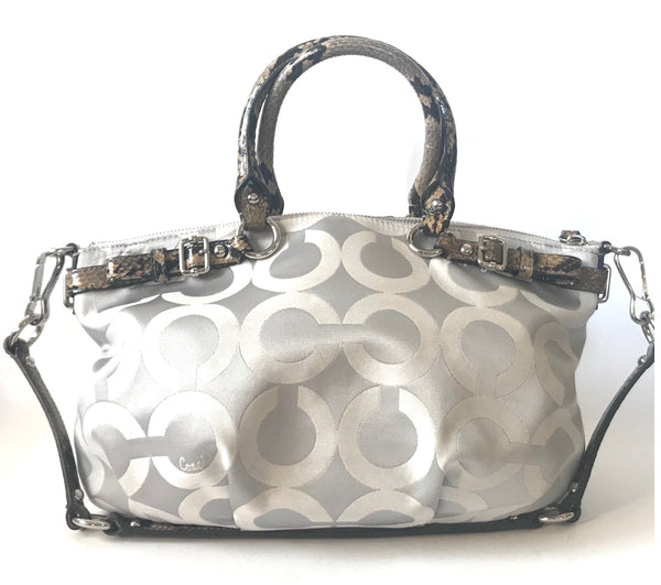 Coach Signature Collection Grey Canvas with Leather Trim Tote Bag | Gently Used |