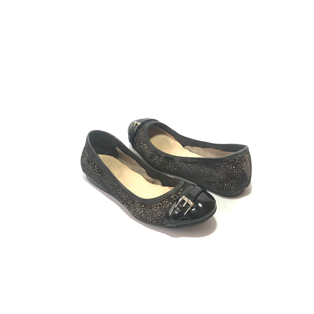 Cole Haan Black Printed Buckle Ballet Flats | Pre Loved |