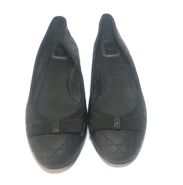 Christian Dior Quilted Black Leather Ballet Flats | Gently Used | - Secret Stash