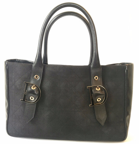 Christian Dior Black Canvas & Leather Tote Bag | Gently Used |