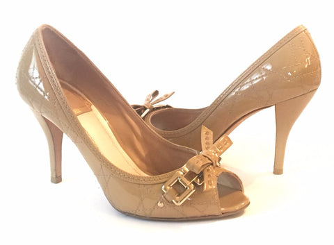 Christian Dior Beige 'Cannage' Quilted Patent Leather Peep Toe Bow Pumps | Gently Used |