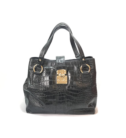 DKNY Black Croc Embossed Leather Tote Bag | Gently Used |