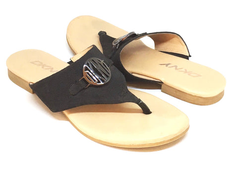 DKNY Black Canvas Sandals | Pre Loved |