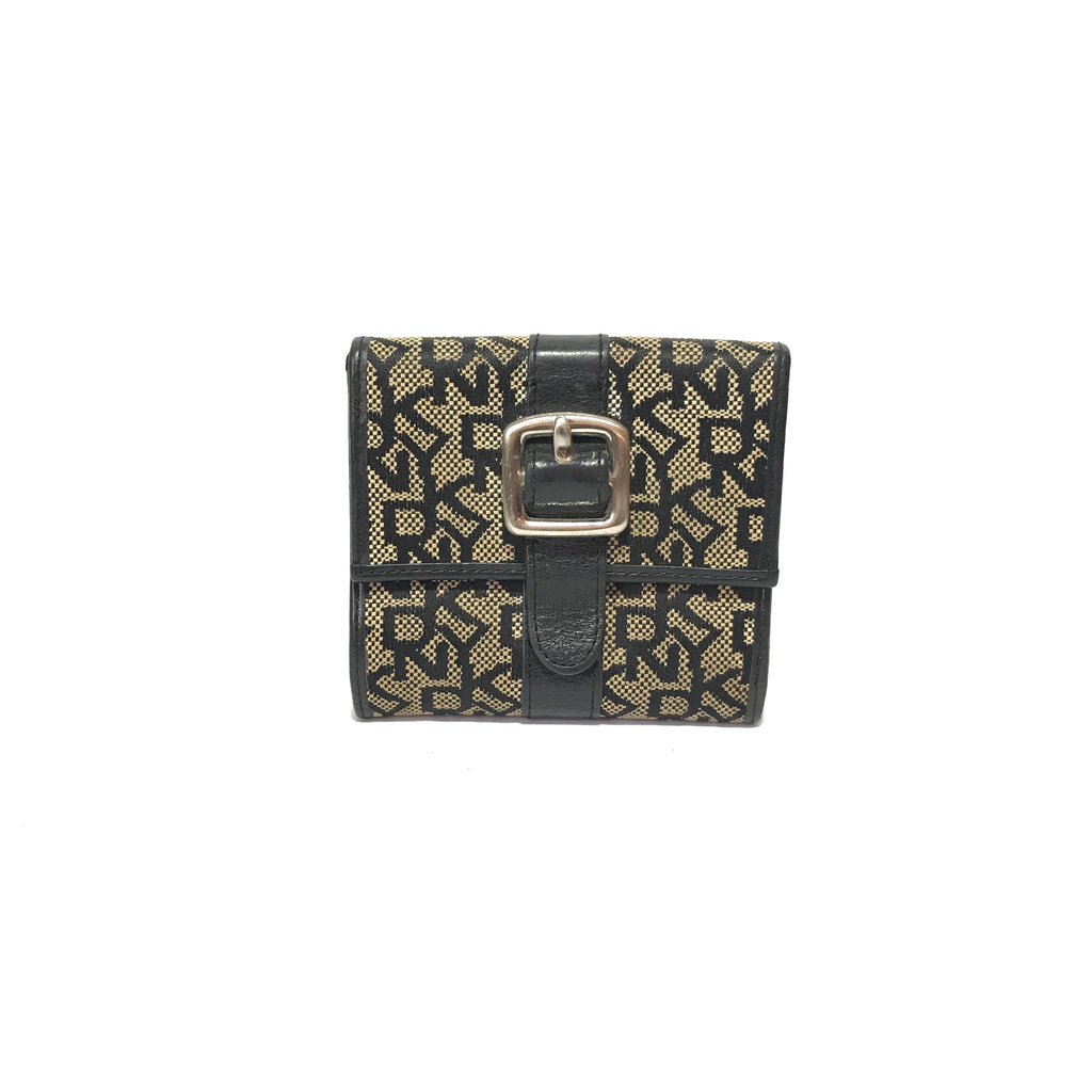 DKNY Monogram Black & Beige Bifold Wallet | Pre Loved |