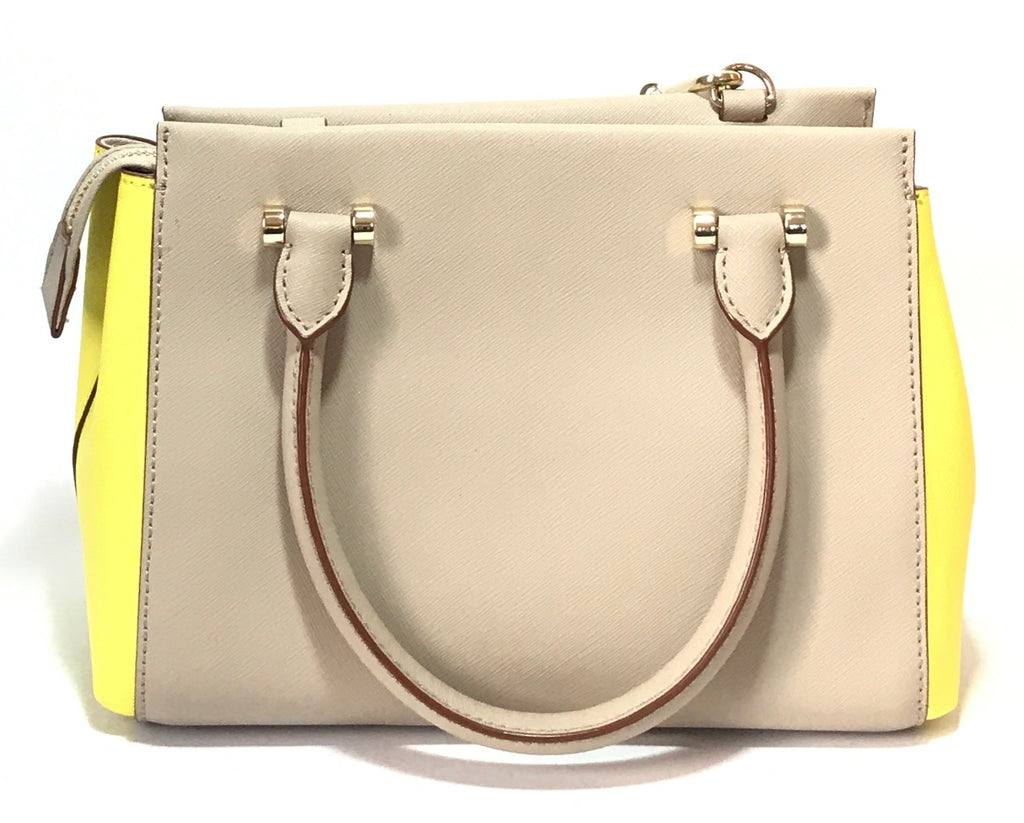 DKNY Grey & Neon Yellow Leather Small Satchel | Gently Used |