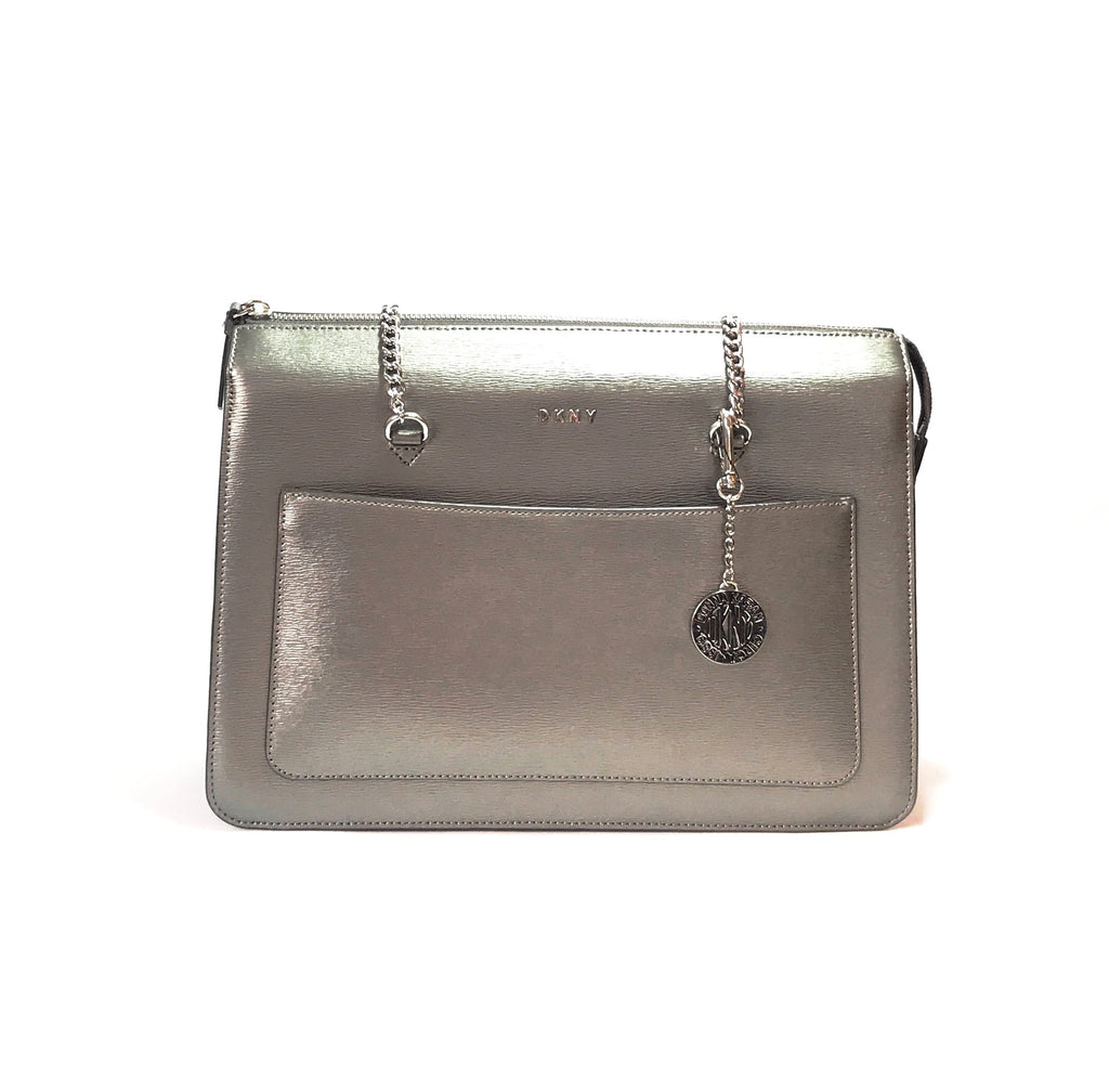 DKNY Gunmetal Leather Shoulder Bag | Gently Used | - Secret Stash