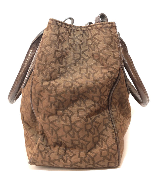 DKNY Monogrammed Brown Canvas with Leather Trim Shoulder Bag | Gently Used |