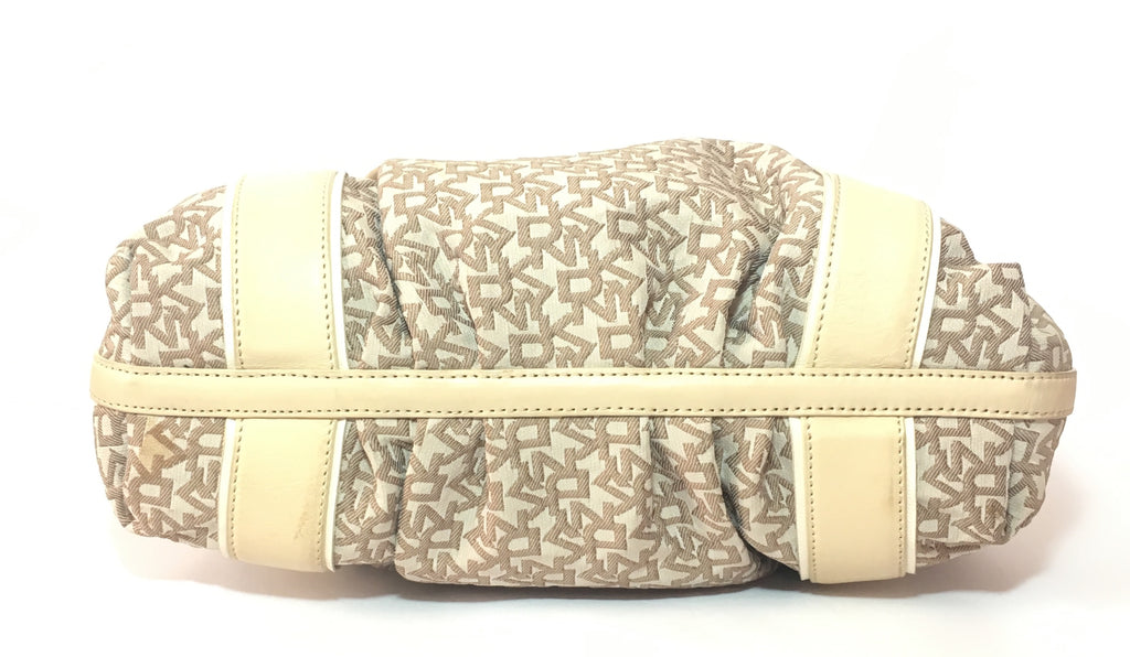 DKNY Beige Signature Canvas & Leather Shoulder Bag | Gently Used | - Secret Stash