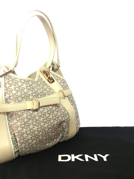 DKNY Beige Signature Canvas & Leather Shoulder Bag | Gently Used |