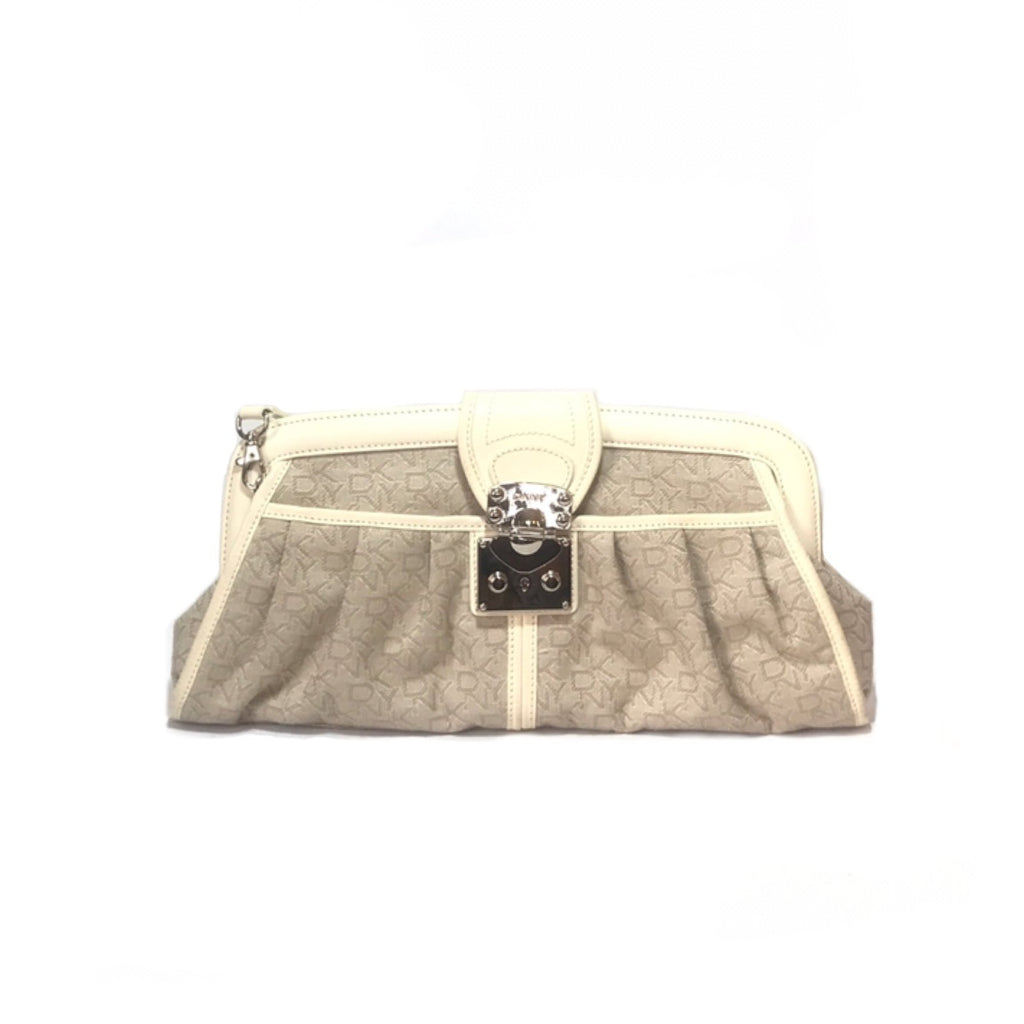 DKNY Monogram Canvas & Leather Cream Shoulder Bag | Gently Used |