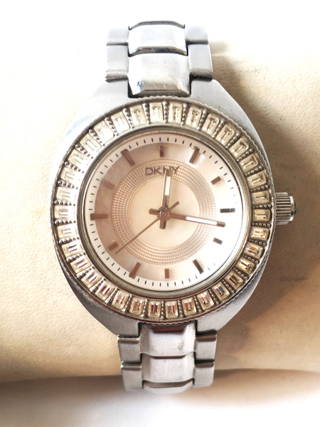 DKNY Stainless Steel Rhinestone Watch | Pre Loved |