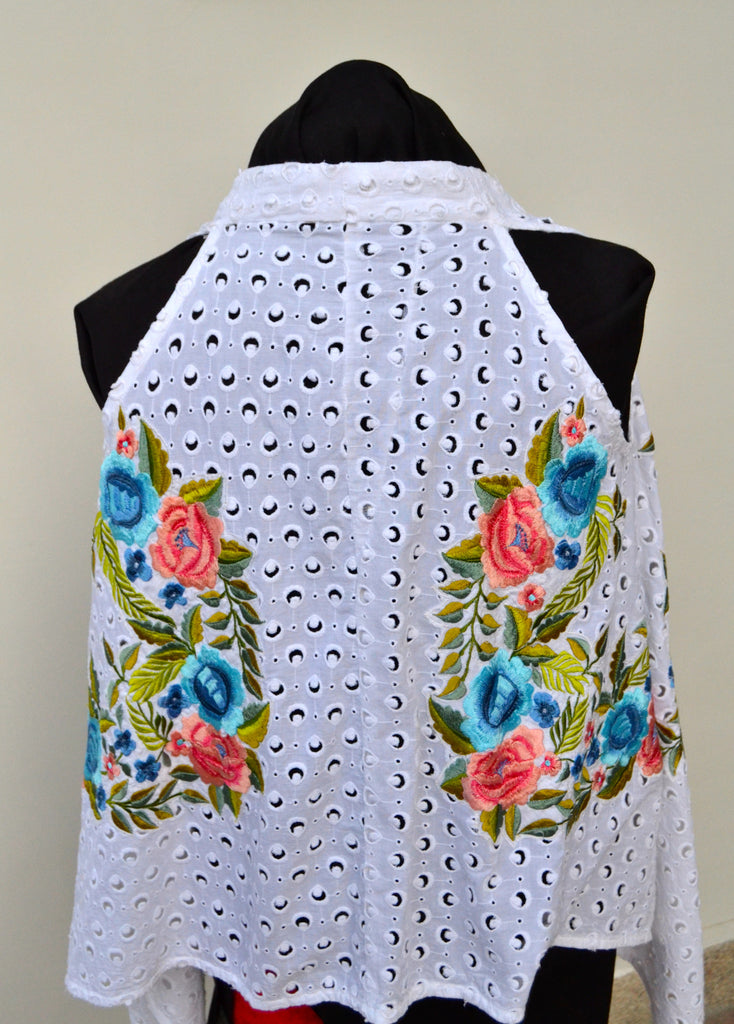 Sanam Chaudhri White Chikan Tunic | Brand New | - Secret Stash