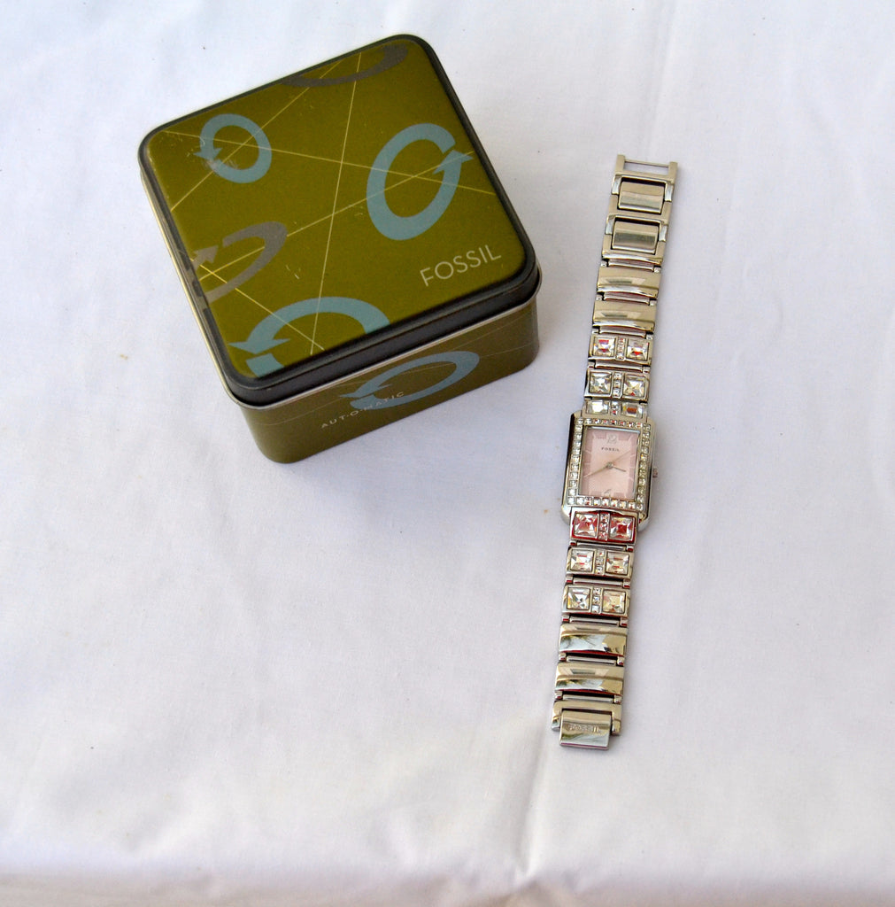 Fossil Stainless Steel & Crystal Watch | Pre-loved | - Secret Stash