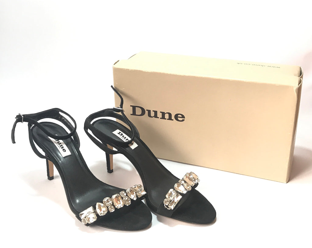 DUNE Black Suede Diamante Rhinestone Heels | Like New |