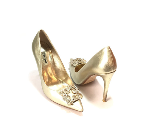 DUNE Gold 'Breanna' Jewel Heels | Pre Loved |