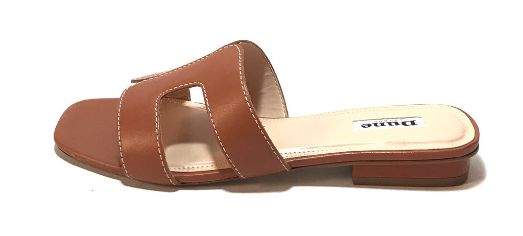 DUNE 'LOUPE' Tan Leather Sandals | Brand New |