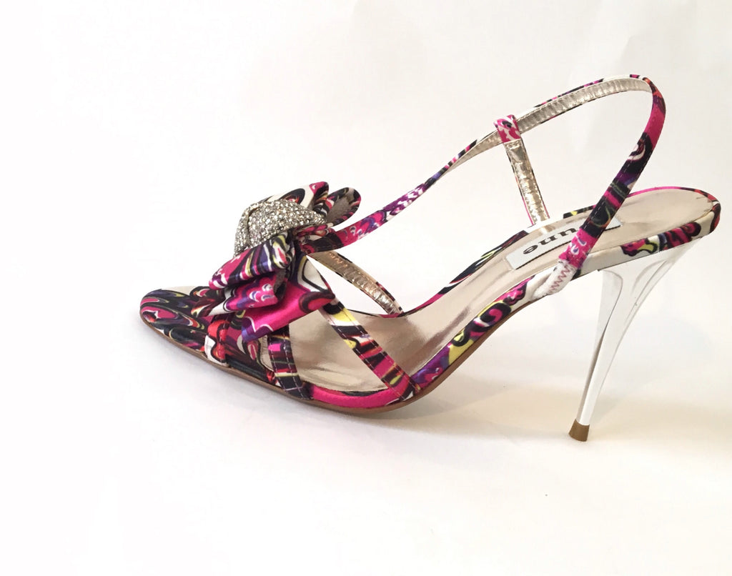 DUNE 'DANI' Jeweled Slingback Multicolored Printed Heels | Like New |